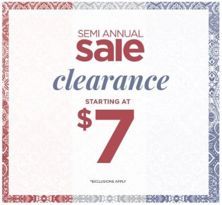 Semi-Annual Sale: Clearance Starting at $7