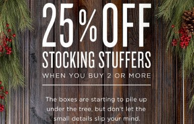 25% Off Stocking Stuffers When You Buy 2 or More from The Art of Shaving