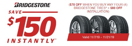 Save $150 Instantly on Bridgestone Tires from Costco