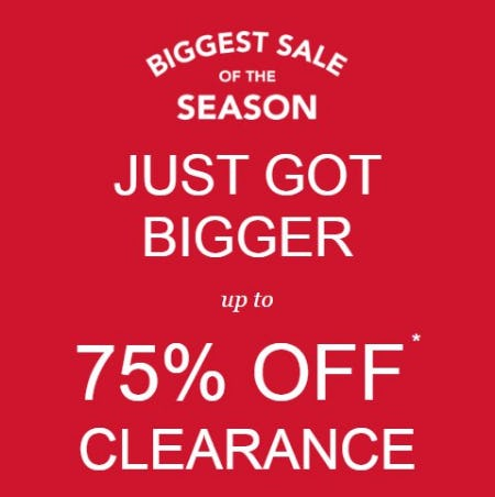 Biggest Sale of the Season: Up to 75% Off Clearance