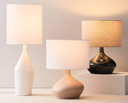 New Asymmetry Ceramic Table Lamps from West Elm