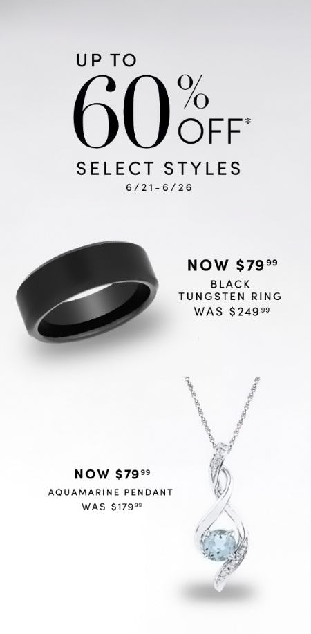 Up to 60% Off Select Styles from Jared Galleria of Jewelry