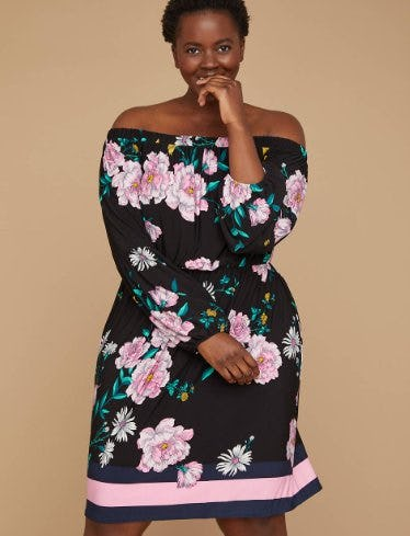 Printed Off-The-Shoulder Fit & Flare Dress from Lane Bryant