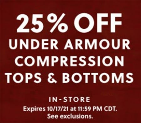 25% Off Under Armour Compression Tops & Bottoms from Hibbett Sports