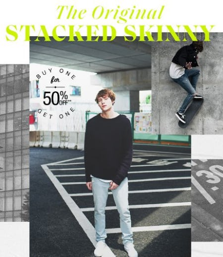 Stacked Skinny Jeans Buy One, Get One 50% Off from PacSun