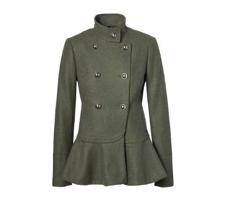 Italian Wool-Blend Peplum-Hem Coat