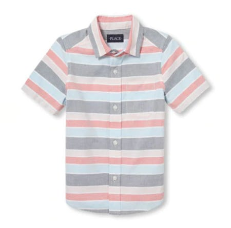 Boys Short Sleeve Striped Oxford Button-Down Shirt