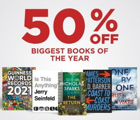 50% Off Biggest Books of the Year from Books-A-Million