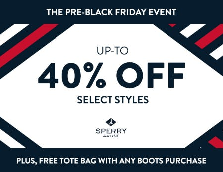 40% OFF SELECT STYLES + FREE TOTE BAG from Sperry Top-Sider