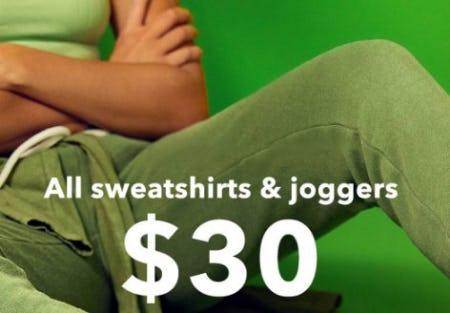 All Sweatshirts & Joggers $30