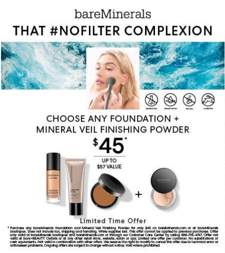 bareMinerals: Foundation and Mineral Veil Bundle for $45 from bareMinerals