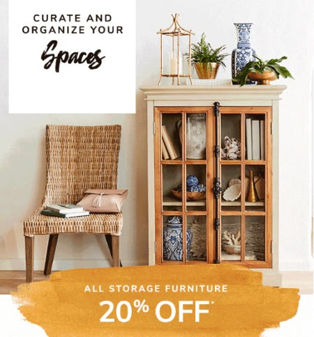 20% Off All Storage Furniture from Pier 1 Imports