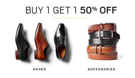 BOGO 50% Off Shoes & Accessories from Men's Wearhouse