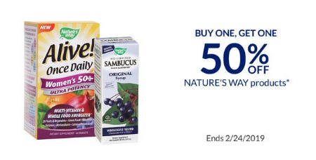 BOGO 50% Off Nature's Way Products from The Vitamin Shoppe