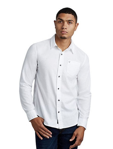 Mens Classic Herringbone Button Up Shirt from True Religion Brand Jeans