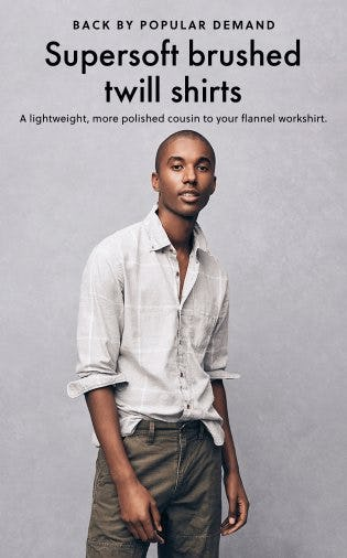 Supersoft Brushed Twill Shirts from J.Crew