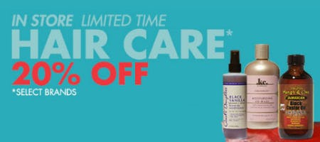 20% Off Hair Care