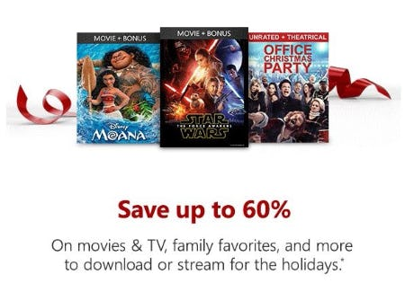 Up to 60% Off Movies & TV, Family Favorites, and More
