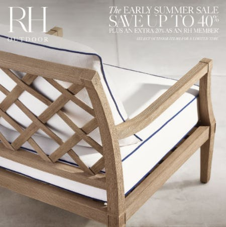 Up to 40% Off The Early Summer Sale from Restoration Hardware