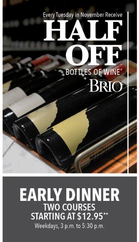 Half-Off Bottles of Wine at BRIO