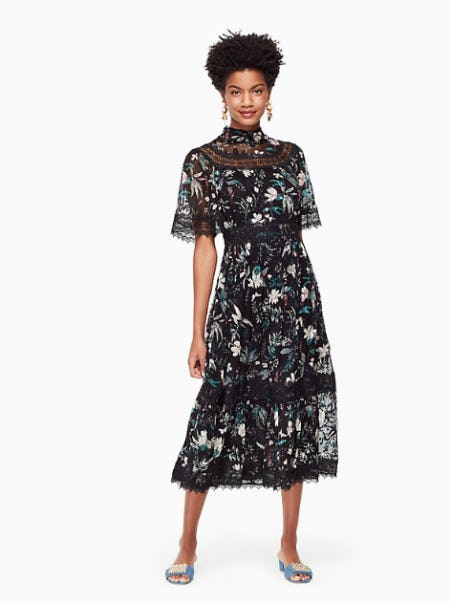 Botanical Chiffon Midi Dress