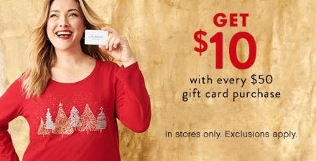 Get $10 with Every $50 Gift Card Purchase from Catherines Plus Sizes