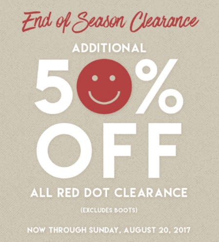 Extra 50% Off End Of Season Clearance