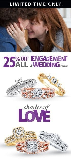 Save 25% on All Engagement & Wedding Rings