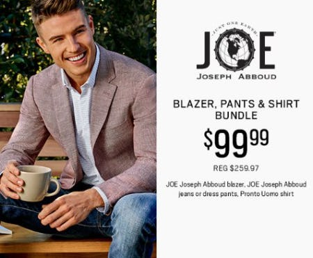Joseph Abboud Blazer, Pants & Shirt Bundle $99.99 from Men's Wearhouse