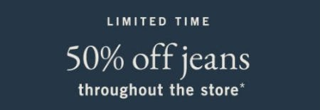 50% Off Jeans Throughout the Store from Abercrombie & Fitch