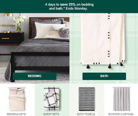 25% on Bedding and Bath