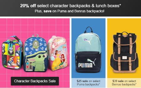 20% Off Select Character Backpacks & Lunch Boxes from Target