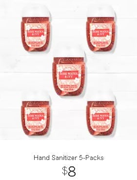Hand Sanitizer 5-Packs $8 from Bath & Body Works
