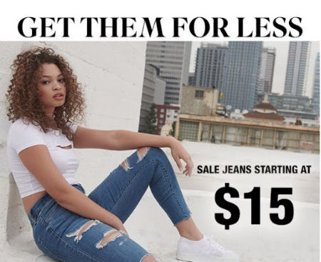 Sale Jeans Starting at $15 from Garage