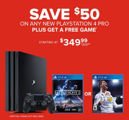 $50 Off Any New Playstation 4 Pro