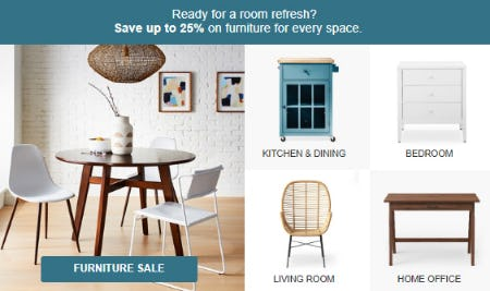 Up to 25% Furniture Sale from Target