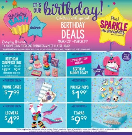Celebrate Claire's Birthday, Thursday, March 21st to Sunday, March 24th! from Claire's