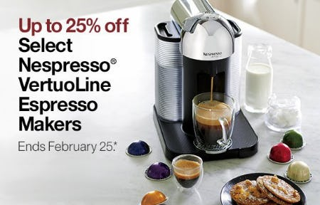 Up to 25% Off Select Nespresso VertouLine Espresso Makers from Crate & Barrel