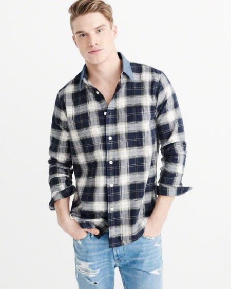 Denim Collar Plaid Shirt