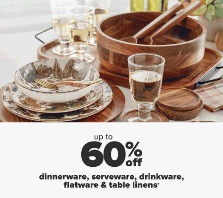 Up to 60% Off Dinnerware, Serveware, Drinkware, Flatware & Table Linens from Belk