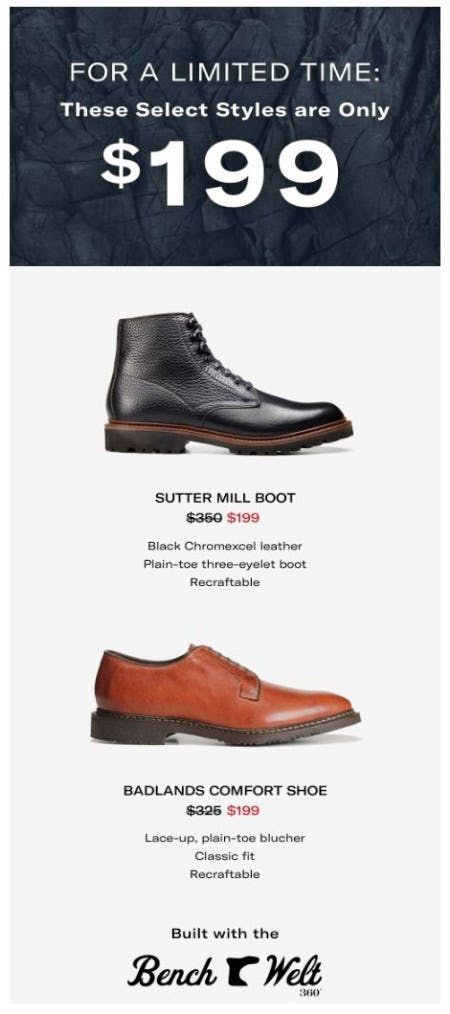 Select Styles Are only $199 from Allen Edmonds