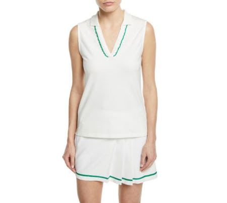 Tory Sport Pique Sleeveless Ruffle Polo Top from Neiman Marcus