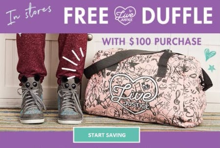 Free Live Justice Duffle with a $100 Purchase