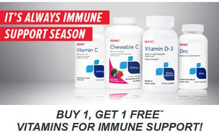 Buy 1, Get 1 Free Vitamins for Immune Support from GNC