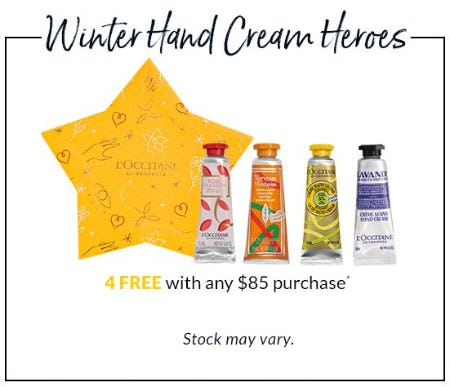 Free Winter Hand Cream With Purchase from L'Occitane