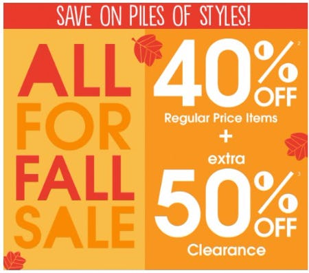 40% Off Regular Price Items Plus Extra 50% Off Clearance