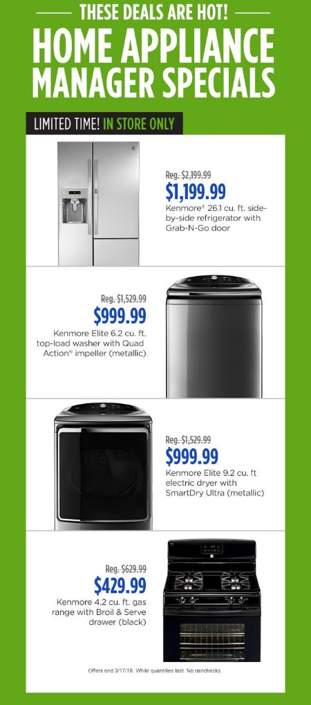 Home Appliance Manager Specials from Sears