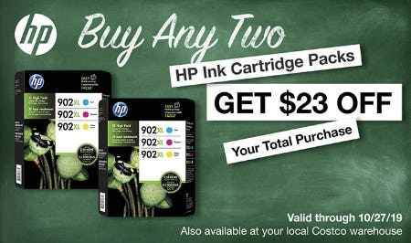 Buy Any Two HP Ink Cartridge Packs & Get $23 Off Your Total Purchase from Costco