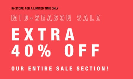 Extra 40% Off Mid-Season Sale