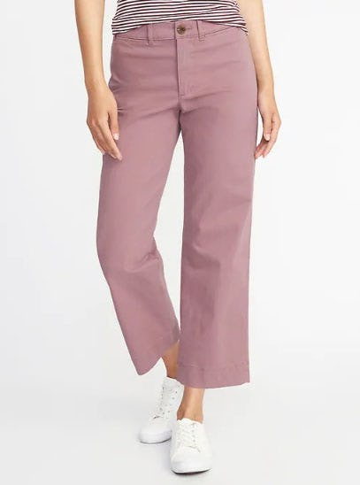 Mid-Rise Cropped Wide-Leg Chinos for Women from Old Navy